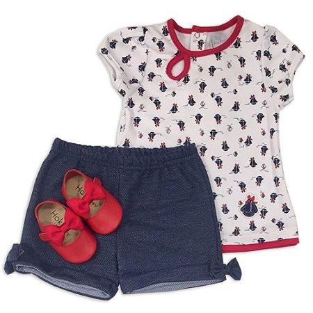 Conjunto Feminino Camiseta e Shorts Barquinho - Piu Piu - Tam GG ao 3