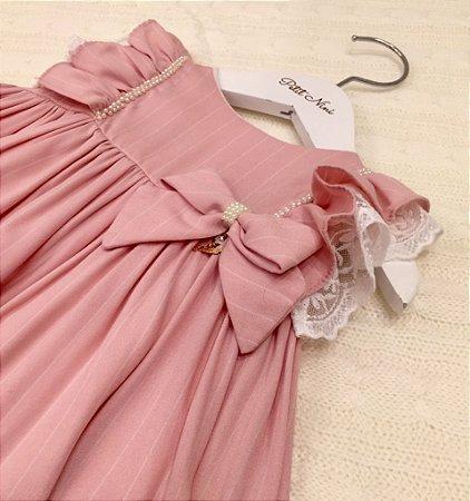 Vestido para Bebê Rosa com Renda - Roana - Tam M