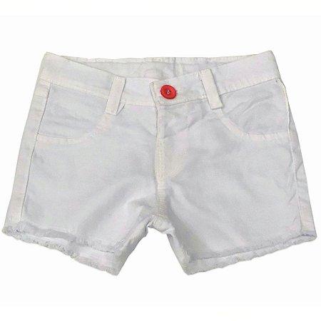 Shorts Feminino Jeans Baby Branco - Tam M a 1