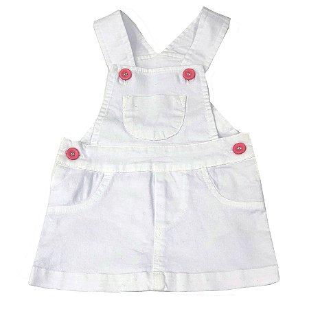 Jardineira Saia Infantil Branca - Tam M ao 3
