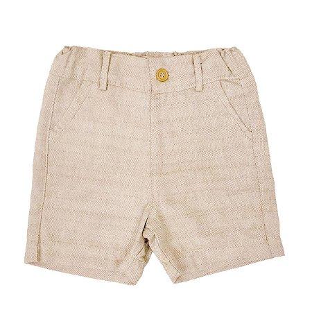 Bermuda Infantil Masculina Linho - Cor Marfim - Tamanho 1 ao 6