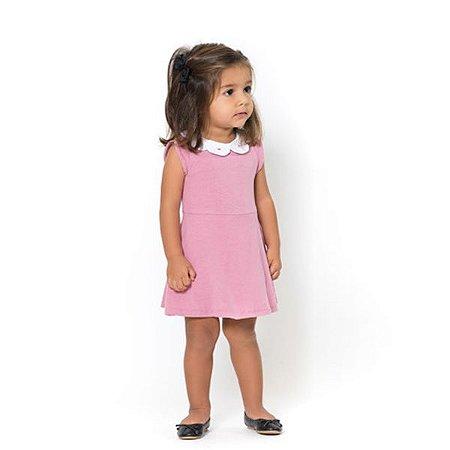 Vestido Infantil Gola Petala Rosa - Tamanho M ao 2