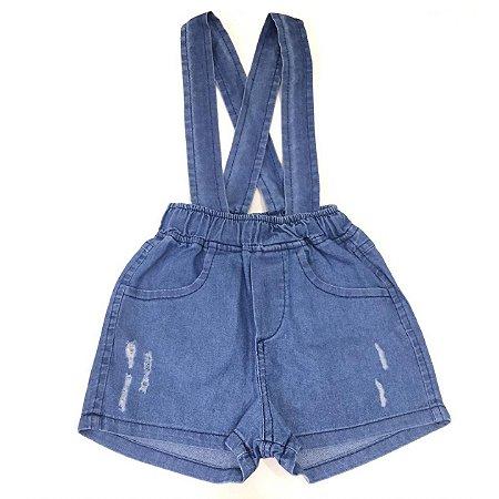 Bermuda com Suspensório Infantil Jeans - Tamanhos G ao 6