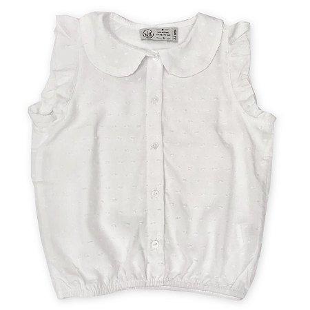 Blusa Regata Infantil Branca - Tamanho 1 a 6