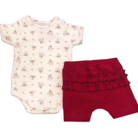 Conjunto Body e Shorts Bebê Estampa Castelinho - Algodão Egípcio - Tam G