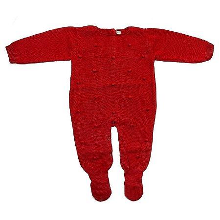 Macacão Saída de Maternidade Dots Vermelho - Bordada a Mão