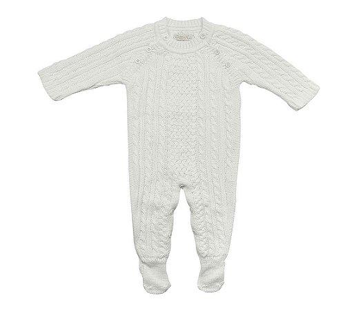 Macacão Saída de Maternidade Unisex Tranças - Branca