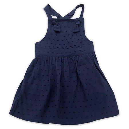 Vestido Infantil Marinho com Detalhe Nó - Tamanho 1 a 6
