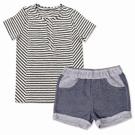 Conjunto Infantil Masculino Listras Branco e Preto - Tamanho 1 a 5 anos