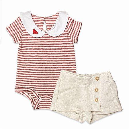 Conjunto Body e Shorts Saia Infantil Love Vermelho - Tam 0 a 4 anos