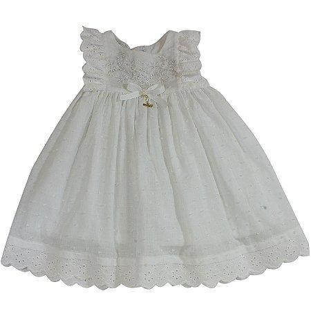 Vestido Branco com Detalhes em Laise - Tamanho M