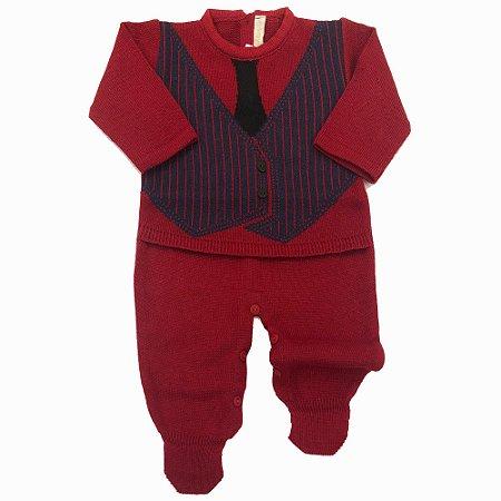 Saída de Maternidade Colete com Gravata - Vermelho - Tamanho P
