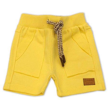 Bermuda Infantil Moletinho Bolsos Amarela - Tamanho P a 6