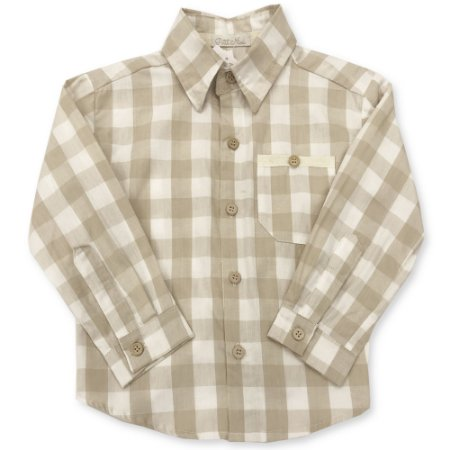 Camisa Infantil Xadrez Bege