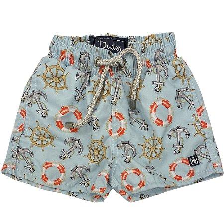 Shorts Infantil Nylon Estampa Âncoras