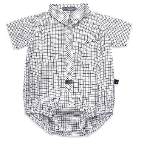 Body Camisa Manga Curta Philip Xadrez Branco