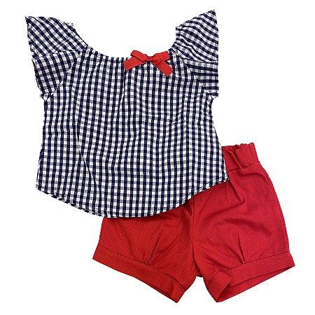 Conjunto Bata e Shorts Feminino Xadrez Azul e Vermelho