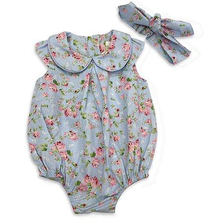 Macaquinho e Faixa Baby Floral Azul