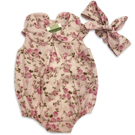 Macaquinho e Faixa Baby Floral Rosa
