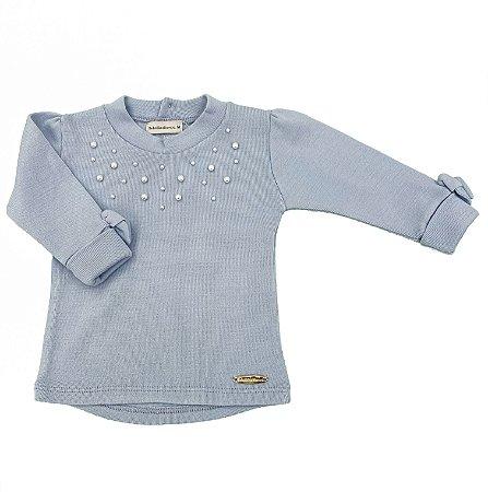 Blusa Pérolas Azul Pastel - Tam M ao 3