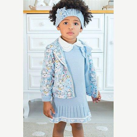 Jaqueta Estampada Nylon Boneca Azul  - Tam M ao 3