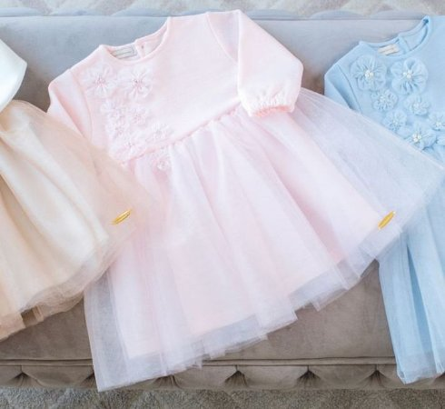 Vestido Festa Tule Rosa Pastel - Tam 1 ao 3