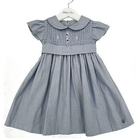 Vestido Linho Azul Medio Casinha Rococo - Tam GG a 6