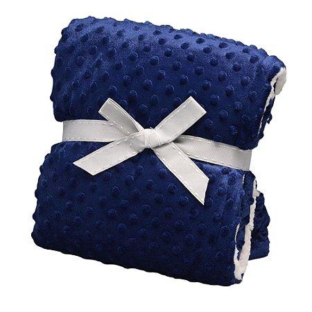 Cobertor Forrado Sherpa com Revelo Dots - Marinho