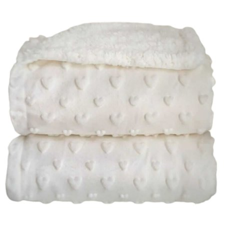 Cobertor Forrado Sherpa com Relevo Hearts - Branco