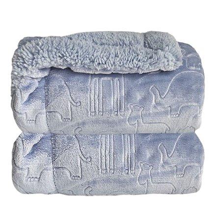 Cobertor Forrado Sherpa Estampa Ferrete - Azul Bebê