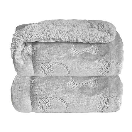 Cobertor Forrado Sherpa Estampa Ferrete - Cinza