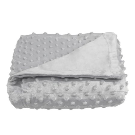 Cobertor Plush Relevo Bolinhas Cinza