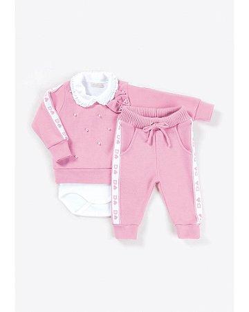Conjunto Infantil Tricô Coração Rosa Bouquet - Bebelândia