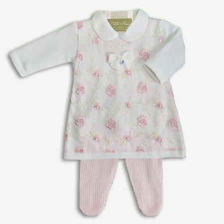 Vestido Saída de Maternidade Renda Rosas