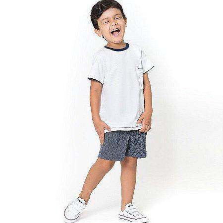 Camiseta Branca Infantil Detalhes Marinhos Tam 1 a 6