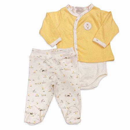 Conjunto para Bebê com Culote, Body e Casaquinho - 100% Algodão - Unissex