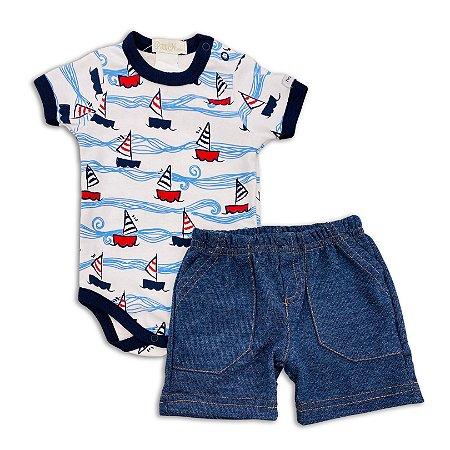 Conjunto Bebê Masculino Body e Shorts Náutico - Tam P a GG