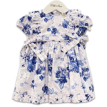 Vestido Infantil Floral Iris Azul - Tam P a 8