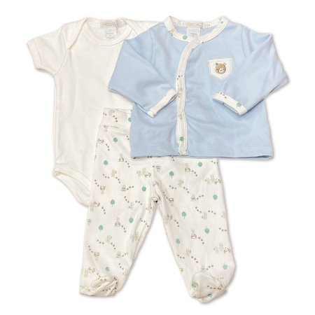 Conjunto para Bebê com Culote, Body e Casaquinho - 100% Algodão - Tema Ursinhos