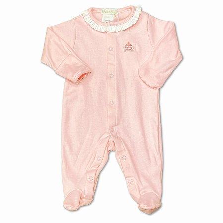 Macacão para Bebê Rosa Bordado Carruagem - Algodão Egípcio - Tam RN ao M