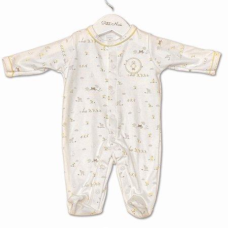 Macacão para Bebê Estampa Fazendinha - Algodão Egípcio - Tam RN ao M