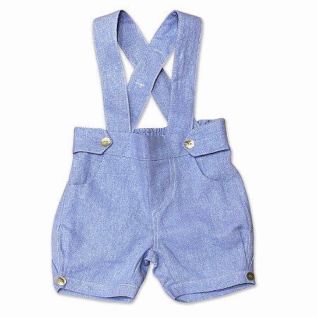 Bermuda Infantil Masculina com Suspensórios Azul - Tam P a 2 anos