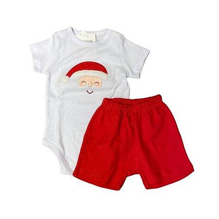 Body Manga Curta Papai Noel e Shorts - Tamanho 1 e 2