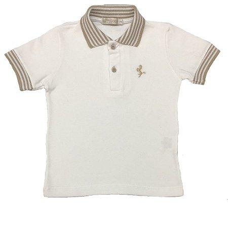 Camiseta Polo Infantil Branca com Listras Bege