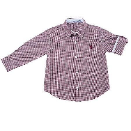 Camisa Infantil Masculina Manga Longa Vichy Vinho