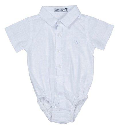 Body Camisa Manga Curta Tecido Bata Branco