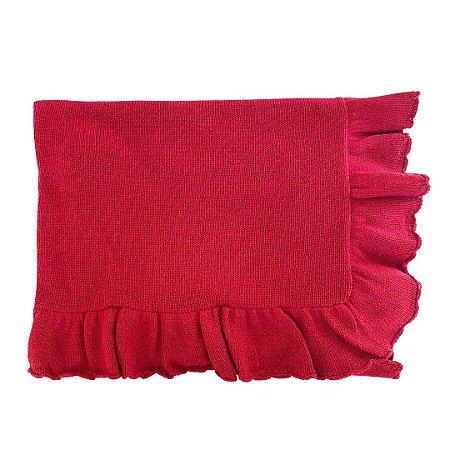 Manta de Tricô com Babado - Vermelha