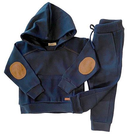Conjunto Infantil em Tricô com Detalhe Pesponto Azulíneo