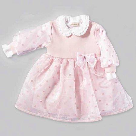 Vestido Bebê - Tricô com Tule Rosa - Tam P, M e G