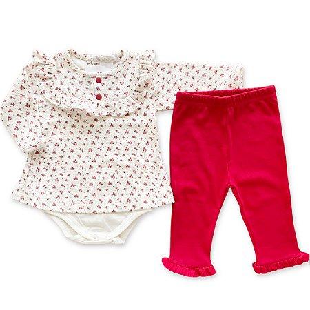 Conjunto de Body e Calça Feminina com Estampa Rosinhas